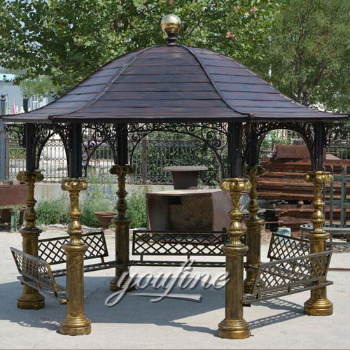 Buying Outdoor small patio hardtop wrought iron round gazebo tent