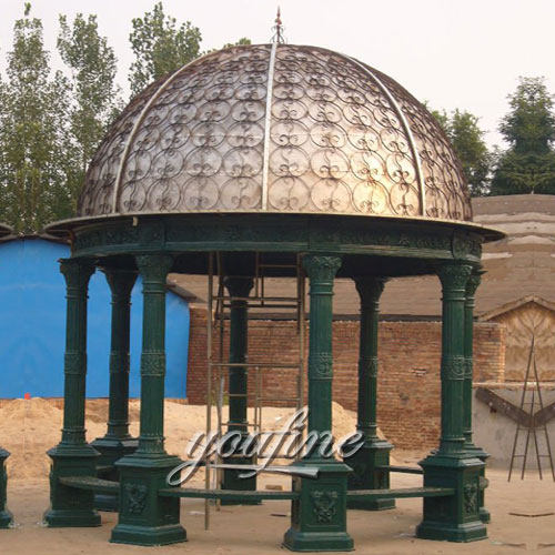 Buying Outdoor  hardtop wrought iron round gazebo with best price
