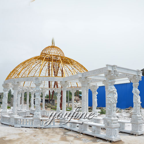 Garden Decorative large garden decoration white marble gazebo for sale