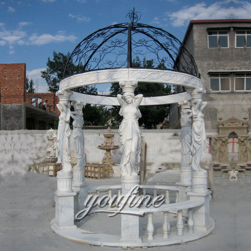 Outdoor marble gazebo with lady statue for sale